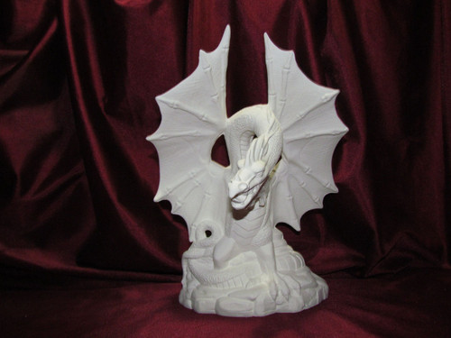Fire Dragon Wings Up - Ready To Paint Ceramic Bisque