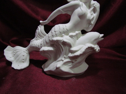 Ceramic Bisque Mermaid and Dolphin pyop unpainted ready to paint diy