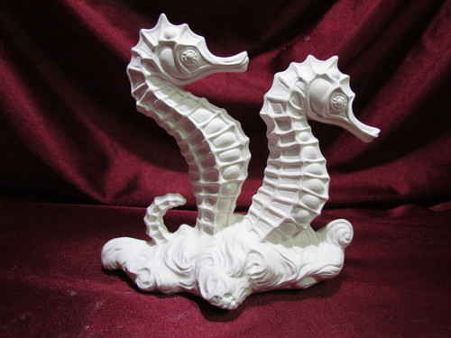 Ceramic Bisque Seahorses On Waves unpainted ready to paint