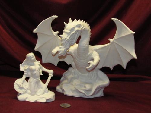 Warrior Maiden & Fire Dragon - Ready To Paint Ceramic Bisque
