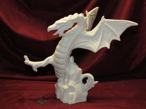 Upright Dueling Dragon - Ready To Paint Ceramic Bisque
