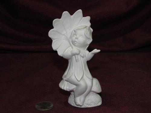 Ceramic Bisque Gare Dewdrop Fairy Sitting on a Mushroom Flower Umbrella unpainted ready to paint