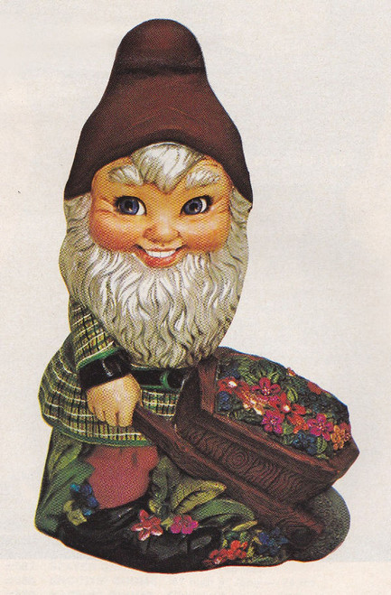 Ceramic Bisque Large Gnome With A Wheel Barrel pyop unpainted ready to paint diy