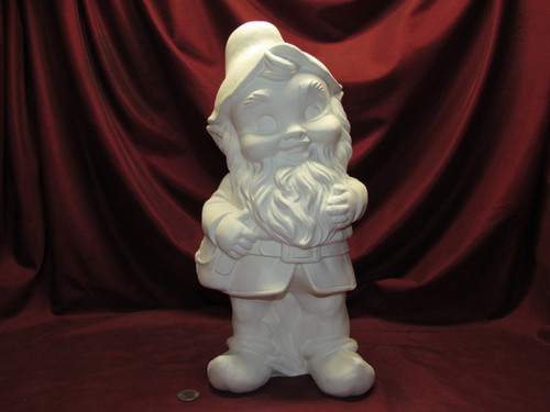 Ceramic Bisque Large Gnome pyop unpainted ready to paint diy