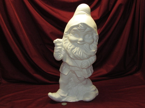 Ceramic Bisque Large Gnome With A Pick pyop unpainted ready to paint diy