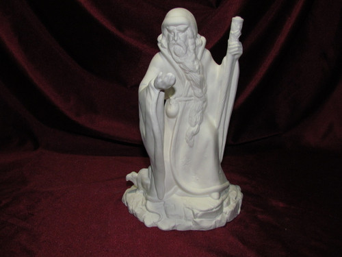 Ceramic Bisque Wizard With Staff And Stars On Cloak pyop unpainted ready to paint diy