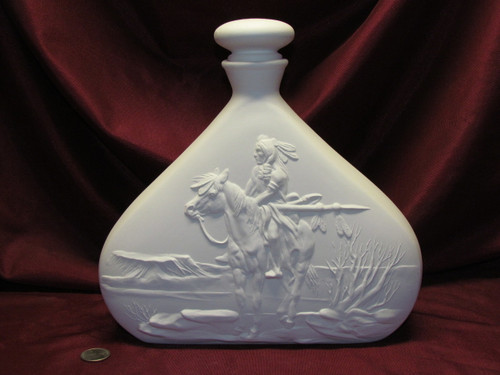 Ceramic Bisque Native American Lookout Decanter & Lid