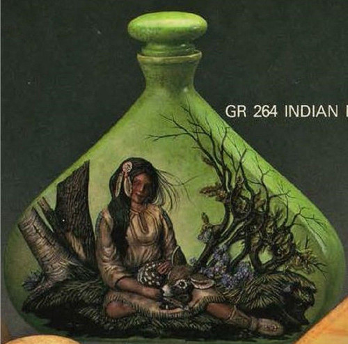 Ceramic Bisque Native American Maiden & Fawn Decanter & Lid