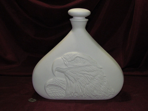 Ceramic Bisque Eagle Decanter & Lid pyop unpainted ready to paint diy