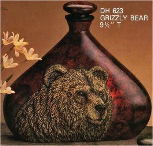 Ceramic Bisque Grizzly Bear Decanter & Lid pyop unpainted ready to paint diy
