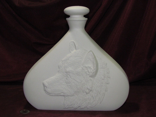 Ceramic Bisque Wolf Decanter & Lid pyop unpainted ready to paint diy