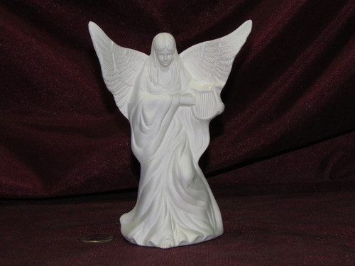 Ceramic Bisque Small Angel with a Harp pyop unpainted ready to paint diy