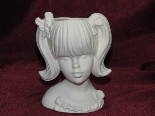 Ceramic Bisque Lady With Pig Tails Vase pyop unpainted ready to paint diy