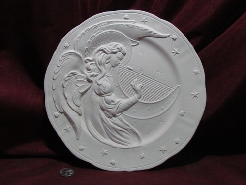 Ceramic Bisque Angel with Harp / Lyre Plate Wall Hanging pyop unpainted ready to paint diy
