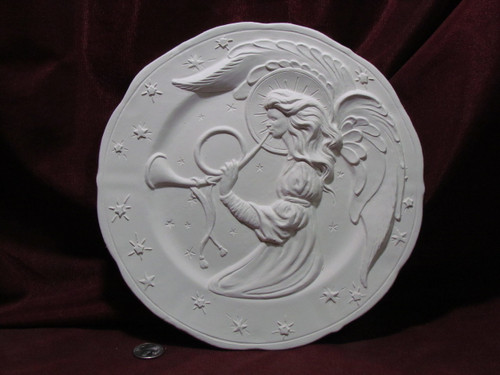 Ceramic Bisque Angel with a Horn Plate Wall Hanging pyop unpainted ready to paint diy