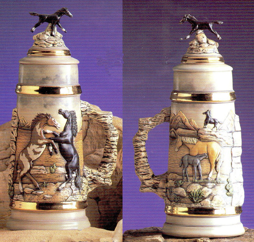 Ceramic Bisque Mustang Horse Stein & Lid pyop unpainted ready to paint diy