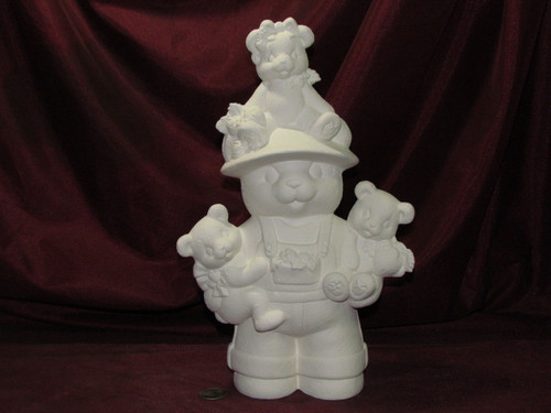 Ceramic Bisque Papa Strawberry Bear With Babies pyop unpainted ready to paint diy