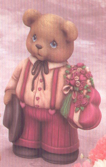 Ceramic Bisque Valentine's Teddy Bear Boy pyop unpainted ready to paint diy