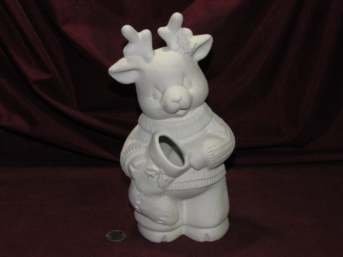 Ceramic Bisque Christmas Reindeer Boy pyop unpainted ready to paint diy