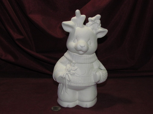 Ceramic Bisque Christmas Reindeer Girl pyop unpainted ready to paint diy