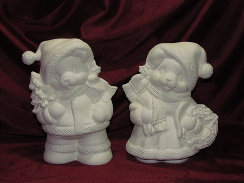 Ceramic Bisque Mr & Mrs Teddy Bear Santa Claus pyop unpainted ready to paint diy