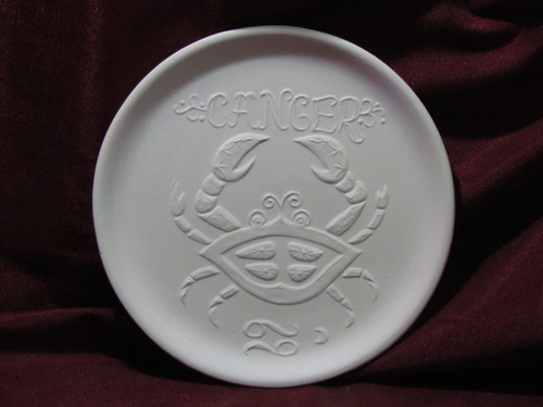Ceramic Bisque Astrology Cancer Wall Mounted Plate pyop unpainted ready to paint diy