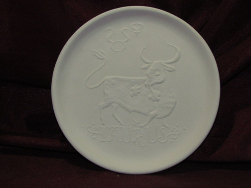 Ceramic Bisque Astrology Taurus Wall Mounted Plate pyop unpainted ready to paint diy