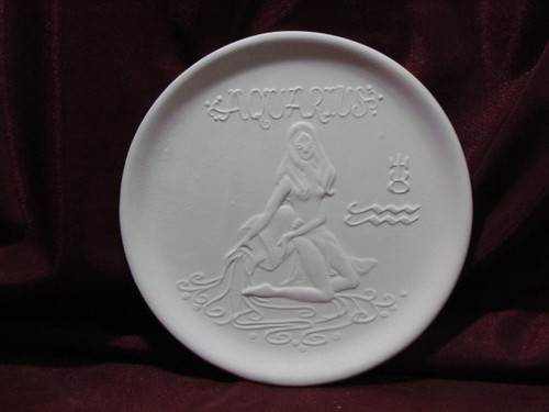 Ceramic Bisque Astrology Aquarius Wall Mounted Plate pyop unpainted ready to paint diy