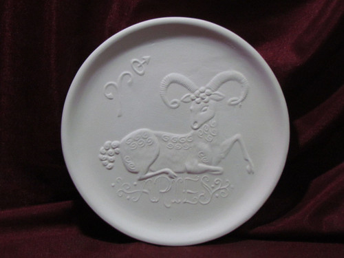 Ceramic Bisque Astrology Aries Wall Mounted Plate pyop unpainted ready to paint diy