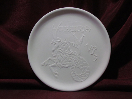 Ceramic Bisque Astrology Capricorn Wall Mounted Plate pyop unpainted ready to paint diy
