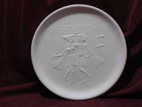 Ceramic Bisque Astrology Gemini Wall Mounted Plate pyop unpainted ready to paint diy