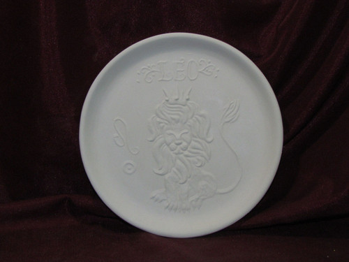 Ceramic Bisque Astrology Leo Wall Mounted Plate pyop unpainted ready to paint diy