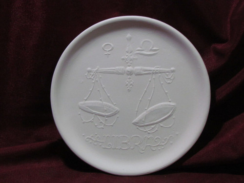 Ceramic Bisque Astrology Libra Wall Mounted Plate pyop unpainted ready to paint diy