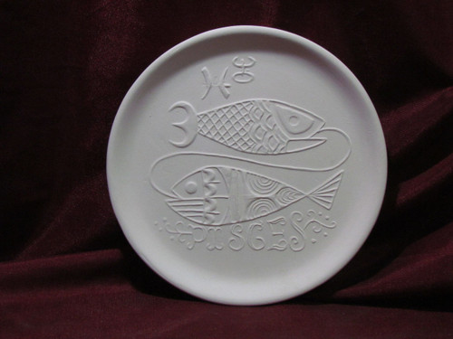 Ceramic Bisque Astrology Pisces Wall Mounted Plate pyop unpainted ready to paint diy