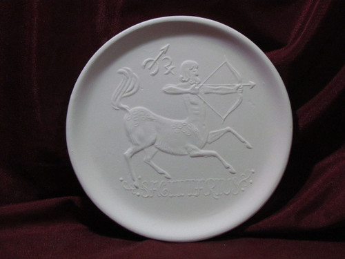 Ceramic Bisque Astrology Sagittarius Wall Mounted Plate pyop unpainted ready to paint diy