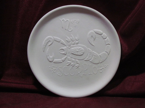 Ceramic Bisque Astrology Scorpio Wall Mounted Plate pyop unpainted ready to paint diy