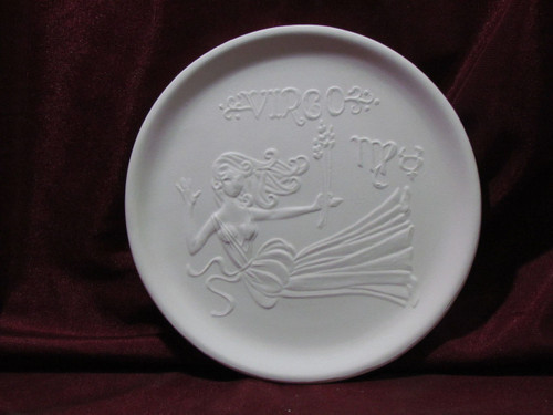 Ceramic Bisque Astrology Virgo Wall Mounted Plate pyop unpainted ready to paint diy