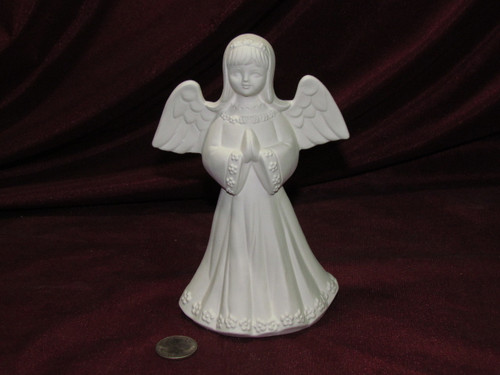 Ceramic Bisque Angel with a Flowery Dress pyop unpainted ready to paint diy