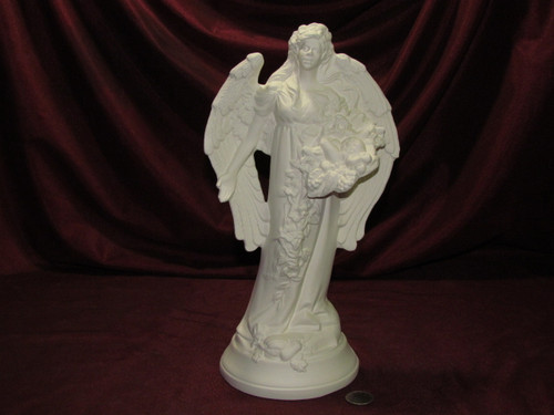 Ceramic Bisque Fall Angel Long Hair pyop unpainted ready to paint diy