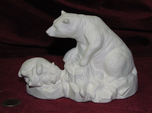Ceramic Bisque Bear And 2 Baies On Rock Base pyop unpainted ready to paint diy