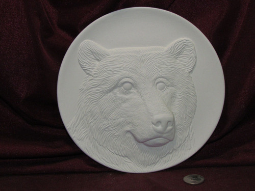 Ceramic Bisque Bear Plate Wall Hanging pyop unpainted ready to paint diy