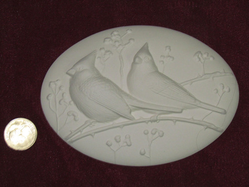 Ceramic Bisque Set of 2 Dona's Inserts ~ Cardinals pyop unpainted ready to paint diy