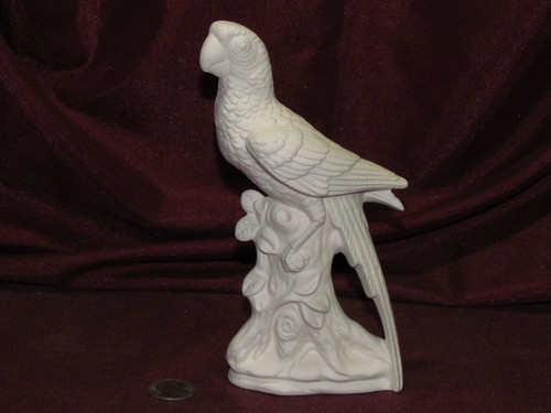 Ceramic Bisque Parrot Bird On Log base pyop unpainted ready to paint diy