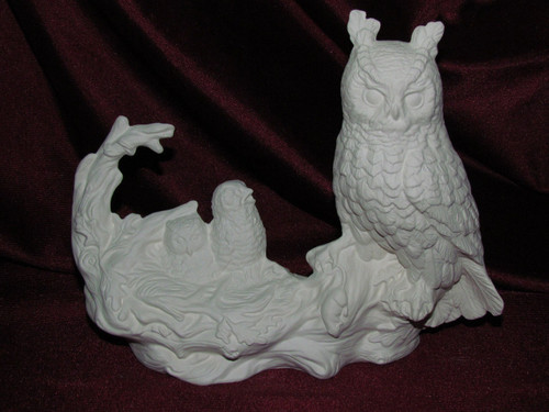 Ceramic Bisque Horned Owl With Chicks pyop unpainted ready to paint diy