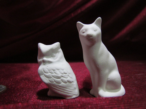 Ceramic Bisque Small Cat & Owl pyop unpainted ready to paint diy
