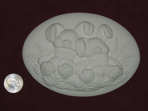 Ceramic Bisque Set of 2 Dona's Inserts ~ Stuffed Bunnies pyop unpainted ready to paint diy