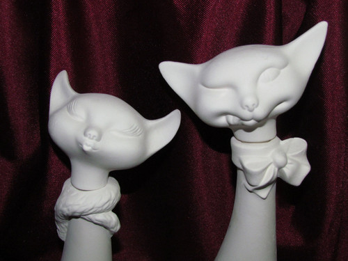 Ceramic Bisque Atomic Kitty Cat Decanter Set Male & Female pyop unpainted ready to paint diy