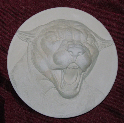 Ceramic Bisque Cougar Plate Wall Hanging pyop unpainted ready to paint diy