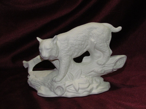 Ceramic Bisque Bobcat on Log pyop unpainted ready to paint diy