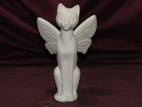 Ceramic Bisque Cat Fairy Butterfly pyop unpainted ready to paint diy